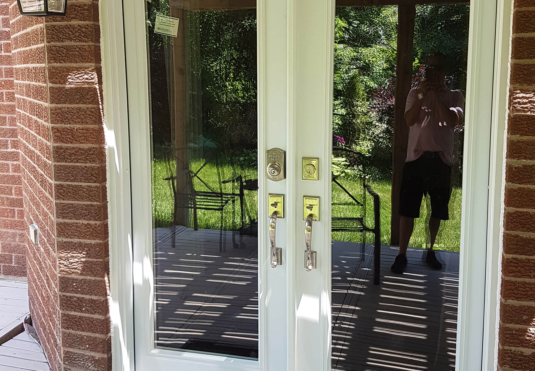 A close-up of french doors