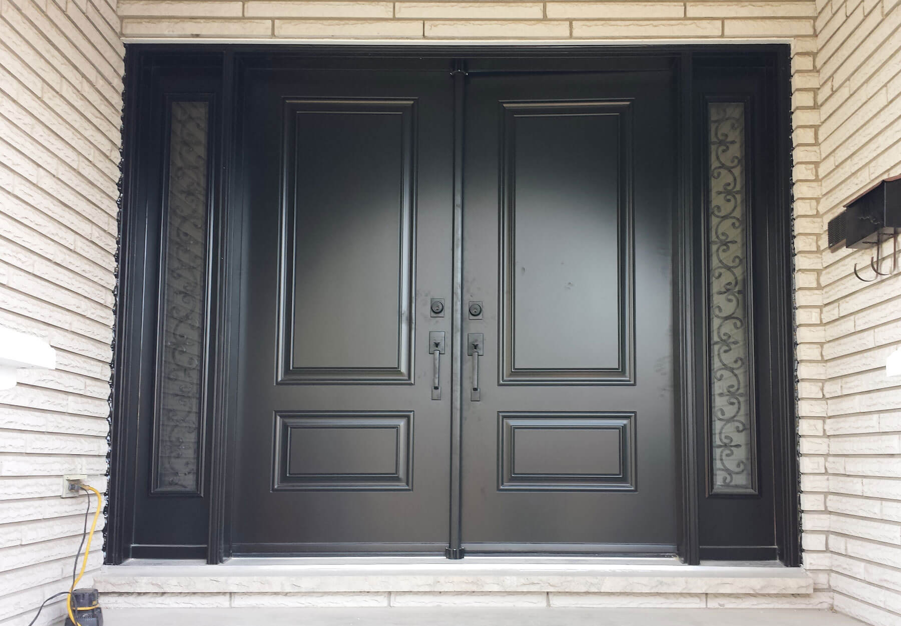 Close-up of steel doors